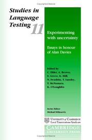 Cover of: Experimenting with Uncertainty: Essays in Honour of Alan Davies | T. McNamara