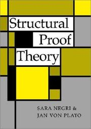Cover of: Structural proof theory by