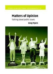 Cover of: Matters of Opinion