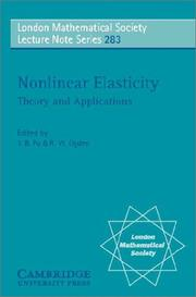 Cover of: Nonlinear elasticity |