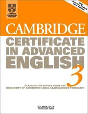 Cover of: Cambridge Certificate in Advanced English 3 Student's Book
