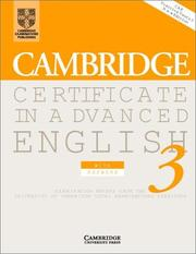 Cover of: Cambridge Certificate in Advanced English 3 Student's Book with answers