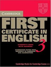 Cover of: Cambridge First Certificate in English 3 Student's Book with answers