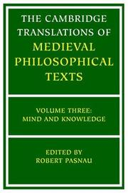 Cover of: The Cambridge Translations of Medieval Philosophical Texts
