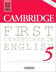 Cover of: Cambridge First Certificate in English 5 Student's Book