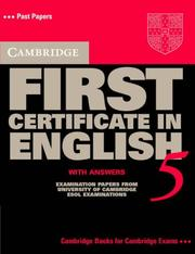 Cover of: Cambridge First Certificate in English 5 Student's Book with answers