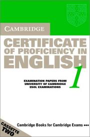 Cover of: Cambridge Certificate of Proficiency in English 1 Cassette Set