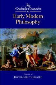 Cover of: The Cambridge Companion to Early Modern Philosophy (Cambridge Companions to Philosophy) | Donald Rutherford