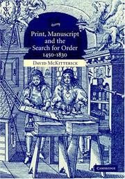 Print, manuscript, and the search for order, 1450-1830