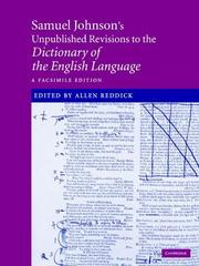 Cover of: Samuel Johnson's unpublished revisions to his Dictionary of the English language