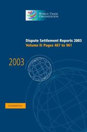 Cover of: Dispute Settlement Reports 2003 (World Trade Organization Dispute Settlement Reports) | World Trade Organization