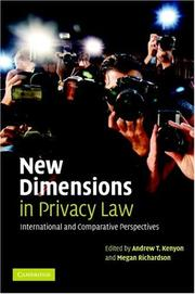 Cover of: New Dimensions in Privacy Law |
