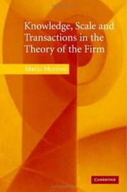 Cover of: Knowledge, Scale and Transactions in the Theory of the Firm