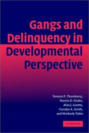 Cover of: Gangs and Delinquency in Developmental Perspective (Cambridge Studies in Criminology) | Terence P. Thornberry