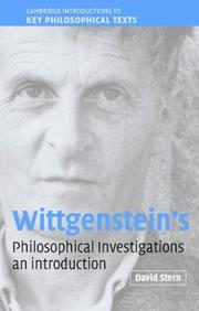Cover of: Wittgenstein's Philosophical Investigations | David G. Stern