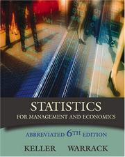 Statistics for management and economics by Gerald Keller