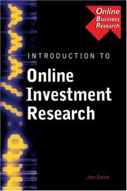 Cover of: Introduction to Online Investment Research (Business Research Solutions Series)