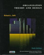 Cover of: Organizational Theory and Design