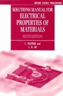 Cover of: Solutions manual for electrical properties of materials