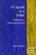 Cover of: To speak as a judge
