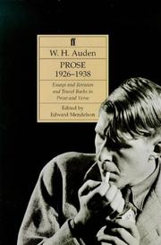 Cover of: Auden's Prose (The complete works of W.H. Auden)