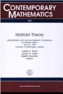 Cover of: Matroid theory