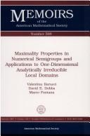 Cover of: Maximality properties in numerical semigroups and applications to one-dimensional analytically irreducible local domains