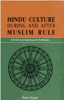 Cover of: Hindu culture during and after Muslim rule