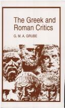 Cover of: The Greek and Roman critics