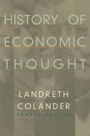 Cover of: History of economic thought