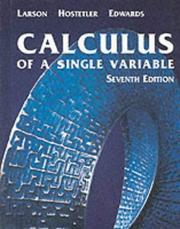 Cover of: Calculus of a single variable: early transcendental functions