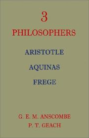 Cover of: Three Philosophers | Anscombe, G. E. M.