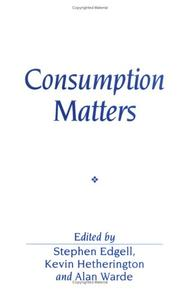 Cover of: Consumption Matters