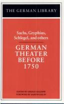 Cover of: German theater before 1750 | edited by Gerald Gillespie ; foreword by Martin Esslin.