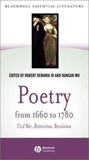 Cover of: Poetry from 1660 to 1780