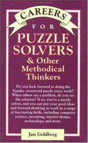 Cover of: Careers for Puzzle Solvers & Other Methodical Thinkers | Jan Goldberg
