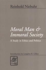 Cover of: Moral man and immoral society