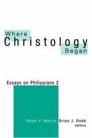 Cover of: Where Christology began |
