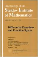 Cover of: Differential equations and function spaces