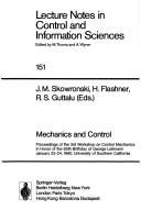 Cover of: Mechanics and control | Workshop on Control Mechanics (3rd 1990 University of Southern California)