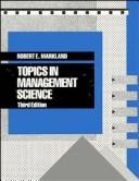 Cover of: Topics in management science