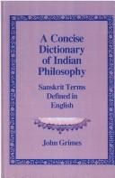 Cover of: A concise dictionary of Indian philosophy | Grimes, John A.
