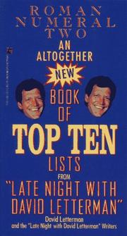 Cover of: An ALTOGETHER NEW BOOK OF TOP TEN LISTS LATE NIGHT DAVID LETTERMAN