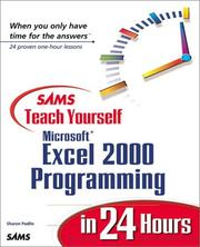 Cover of: Sams teach yourself Microsoft Excel 2000 programming in 24 hours