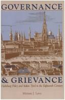 Cover of: Governance & grievance | Miriam J. Levy