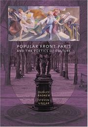 Cover of: Popular Front Paris and the Poetics of Culture