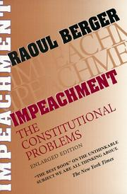 Impeachment by Raoul Berger