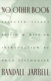 Cover of: No other book: selected essays