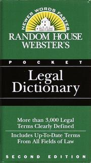 Cover of: Random House Webster's Pocket Legal Dictionary