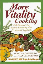 Cover of: More Vitality Cooking | Monda Rosenberg